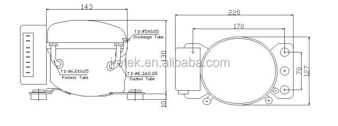 R134a high cooling capacity refrigerator dc compressor