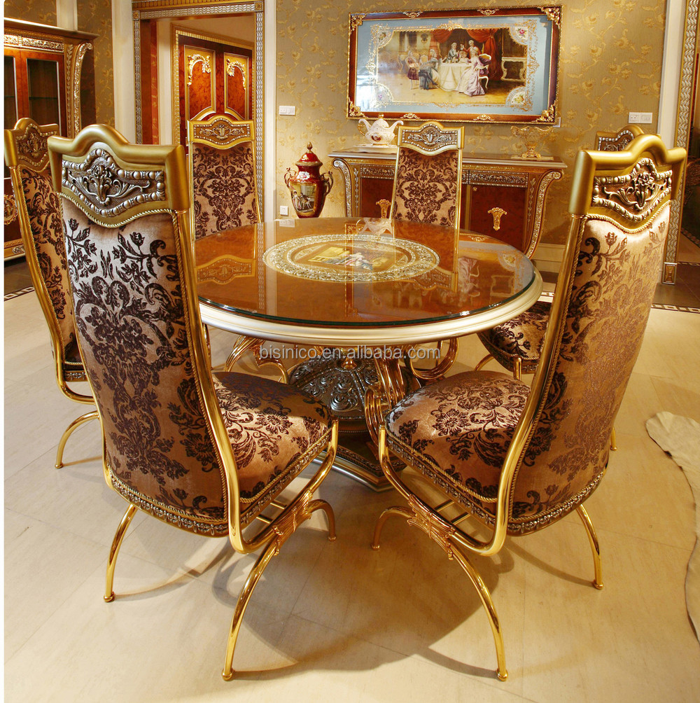 round living room set furniture big lots luxury french baroque style dining sets classic golden wood carving table with chair for six people buy