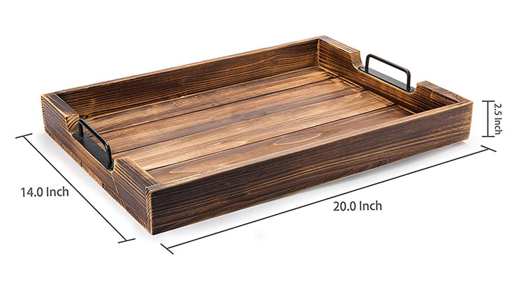 distressed torched antique wood 20 inch serving ottoman tray with modern black metal handles buy serving tray with handles wood serving tray with