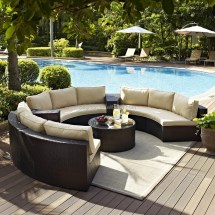 Semi Circle Patio Wicker Chairs With Sectional Arm Tables