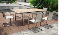 Stainless Steel Outdoor Furniture Teak Wood Table And Mesh ...