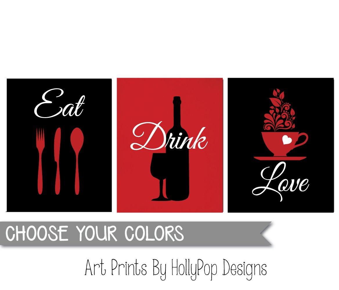 kitchen art prints gold sink cheap find deals on line at modern wall red black eat drink love
