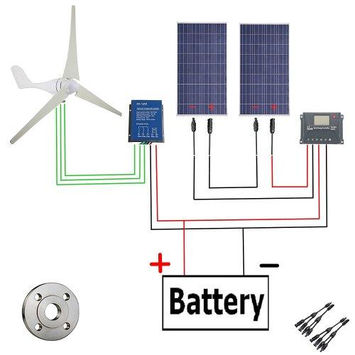 small resolution of get quotations 600w wind solar power ac 24v 400w wind turbine generator kit 2pcs 12v 100w
