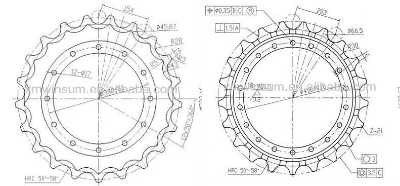 Undercarriage Parts For Komatsu Pc300-3 Excavator Sprocket