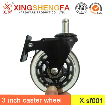 office chair rollerblade wheels alligator leather 3 inch pu casters wheel with brake heavy duty replacement caster set
