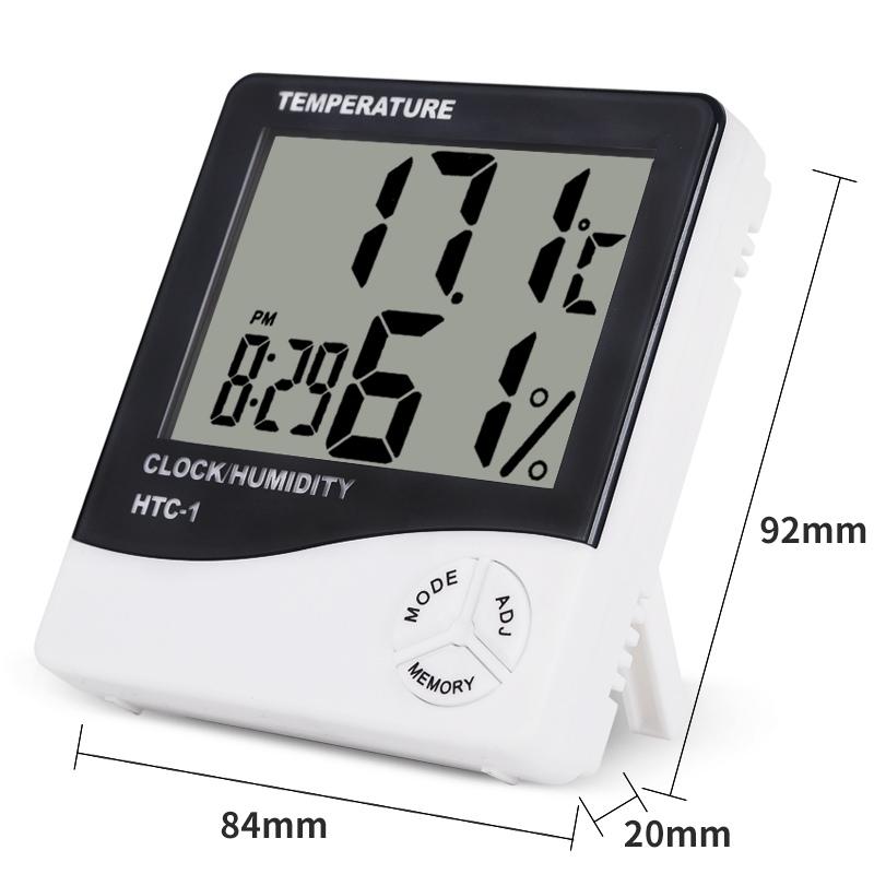 HTB1m7dpgMvD8KJjy0Flq6ygBFXab Indoor Room LCD Electronic Temperature Humidity Meter Digital Thermometer Hygrometer Weather Station Alarm Clock HTC-1