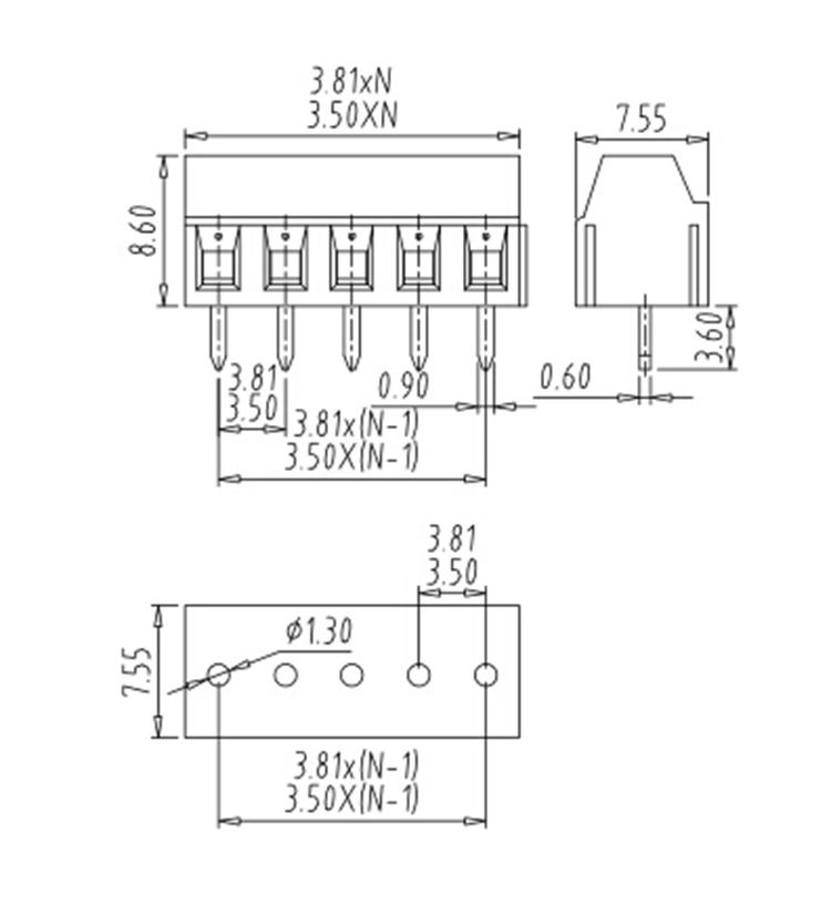 3.5mm Pitch 381 Pcb Screw Terminal Block 2p-24p Vertical