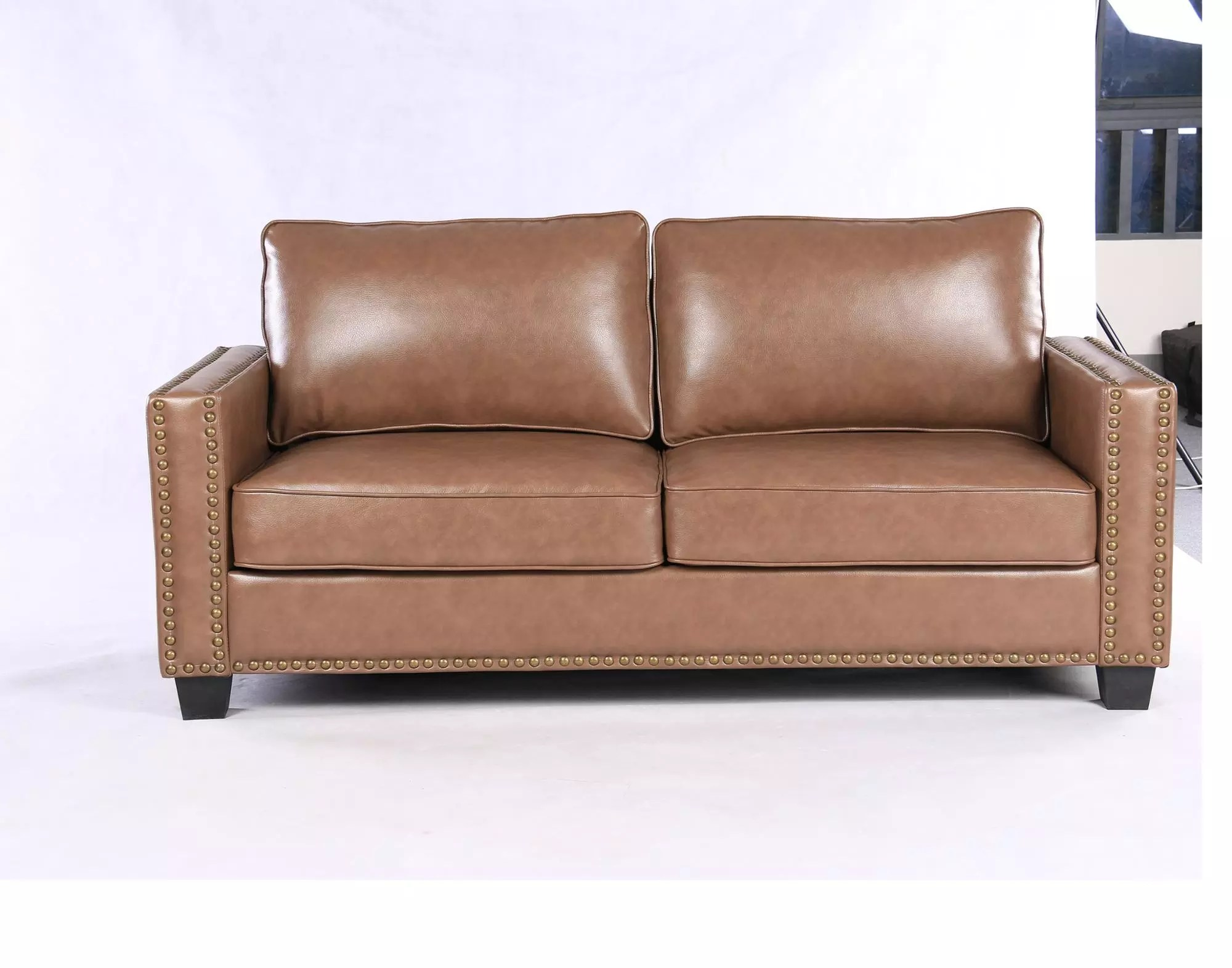 upsable fully kd upholstered sofa air leather settee couch 3 steater sofa with removable back and seat cushion buy leather kd sofa leather and wood