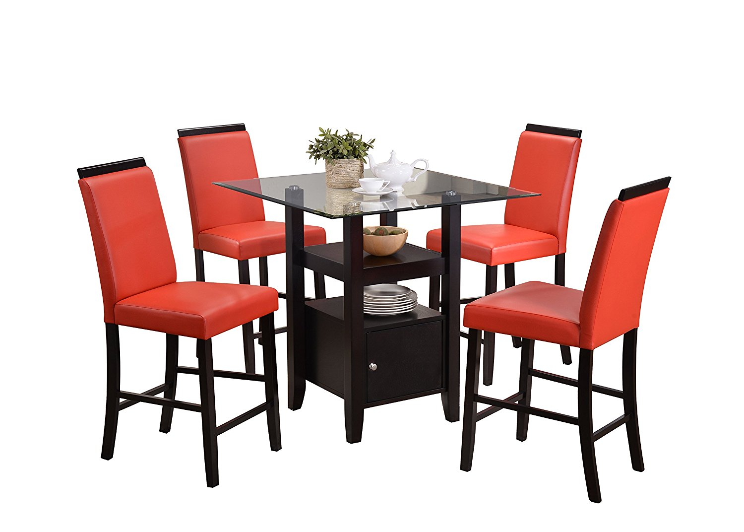 red counter height dining chairs high back plastic patio buy pilaster designs 5 piece set table 4