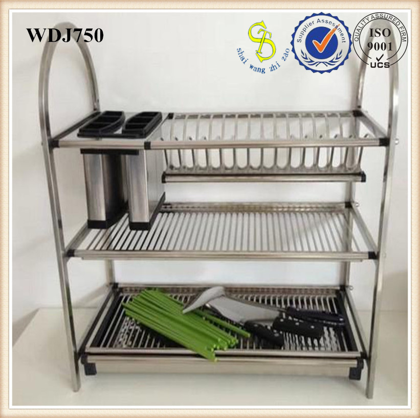 kitchen drying rack gray glass subway tile backsplash stainless steel dish for water guangzhou factory