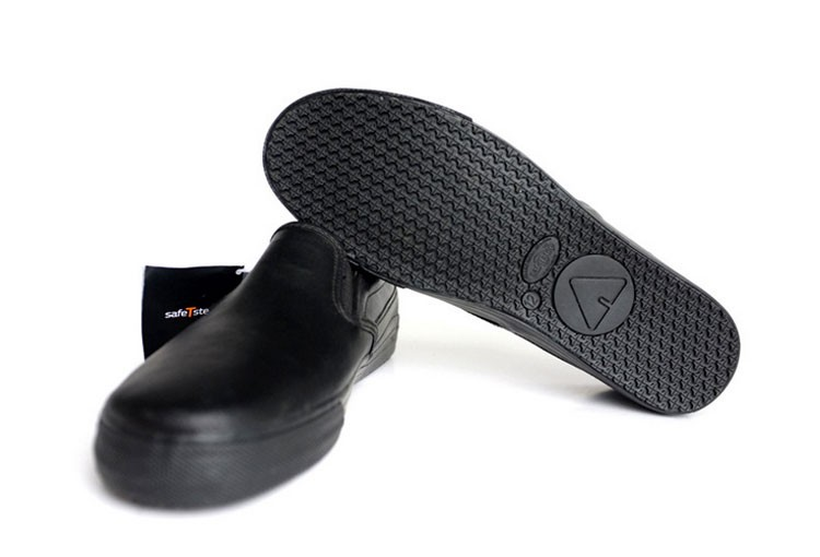 kitchen safe shoes stonewall jam black leather anti slip and oil acid resistant waterproof cook chef mens safety