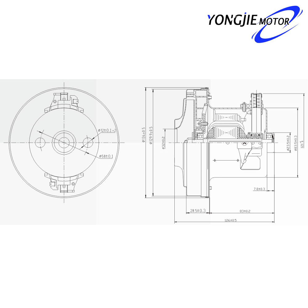 V1j-py32 Single Phase 2000w Electric Vacuum Cleaner Motor