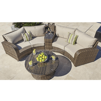 rattan half moon sofa set repairs in chennai 4 seater cheap shaped outdoor party sitting furniture garden italian style sofas