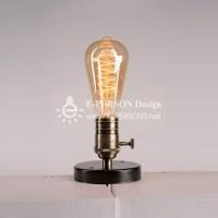 Lighting Vintage Industrial Table Light Edison Bulb Wooden ...