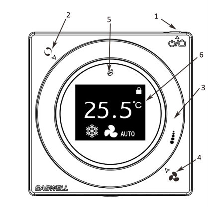 Rs485 Modbus Touch Screen Fan Coil Thermostats With Key