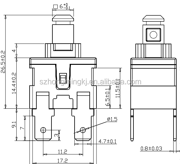KAN-L5 2pin or 4pin Push Button Switch, View single pole