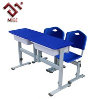 Blue Two Seats School Chair And Table Set - Buy School ...