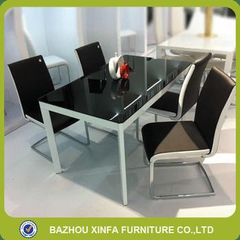 metal kitchen table sets corner sink luxury 6 seater black tempered glass white legs dining set
