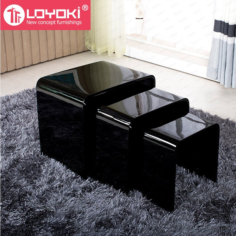 wood side tables living room home design ideas new high gloss set of 3 nest table mdf coffee