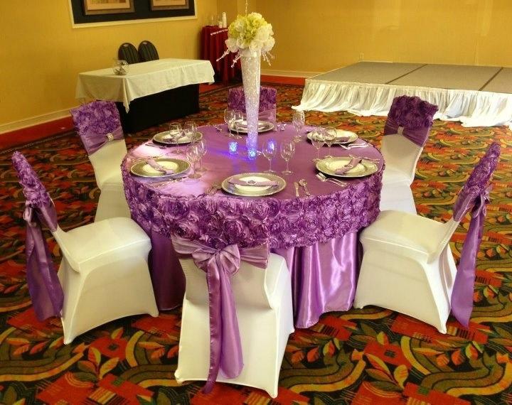 Tcap04 Champagne Satin Rosette Fancy Wedding Table Cloths
