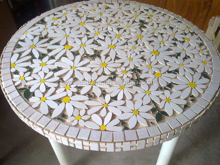 Round Marble Mosaic Flower Pattern Table TopMosaic Garden