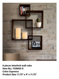 6 Pieces Interlock Wall Cube,Decorative Wooden Wall Cubes