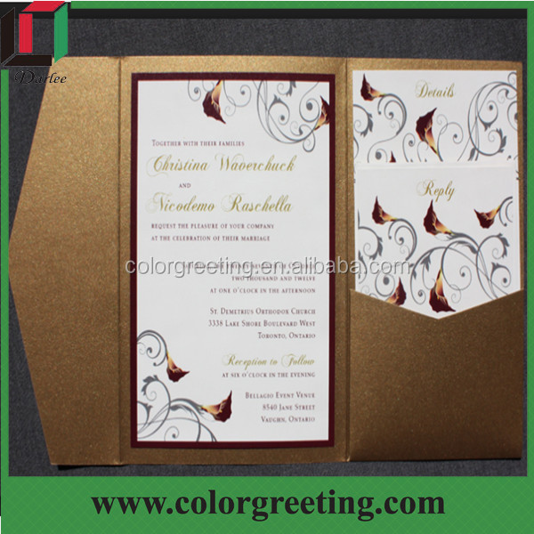 Affordable Pocketfold Wedding Invitations European Style Graceful For Print Your Own Reception Card