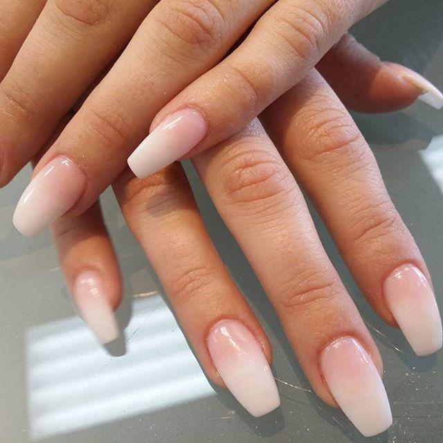 Nails Grey Short Coffin Acrylic