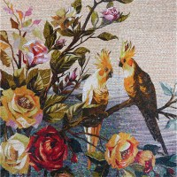 Vh Colorful Bird And Flower Wall Art Murals Glass Mosaic ...