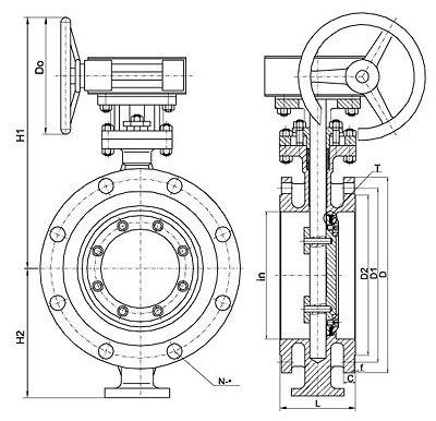 B148 C95800 Bare Stem Bronze Flange Butterfly Valve With