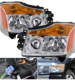 get quotations for nissan titan armada 1 piece chrome housing clear lens amber reflector corner jdm upgrade replacement [ 1296 x 1296 Pixel ]