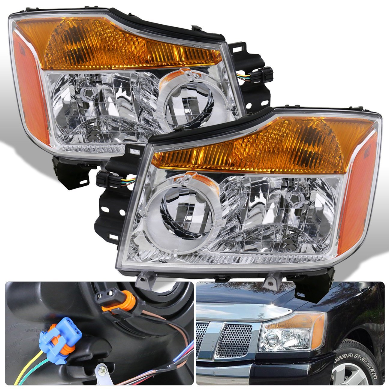 hight resolution of get quotations for nissan titan armada 1 piece chrome housing clear lens amber reflector corner jdm upgrade replacement