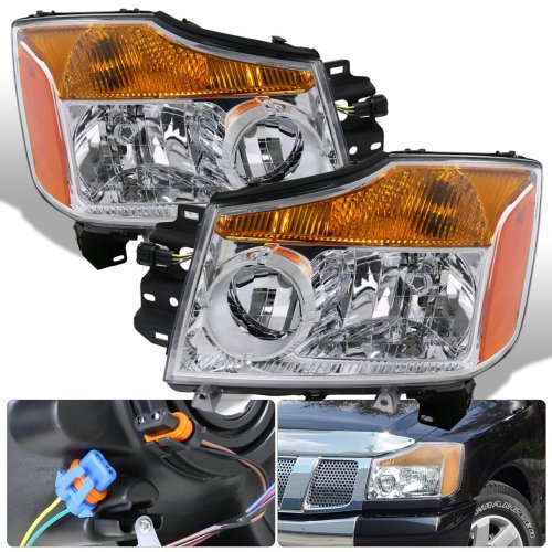small resolution of get quotations for nissan titan armada 1 piece chrome housing clear lens amber reflector corner jdm upgrade replacement