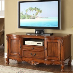 Oak Furniture Set Living Room Stuffed Chairs Wooden Tv Stand With Hand Carved Pattern And Drawer For ...