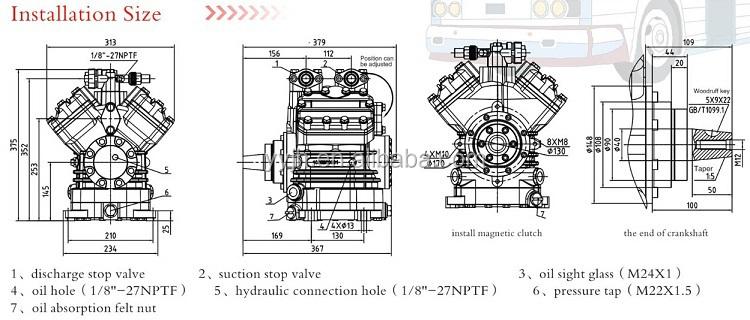 Higer Bus Auto Parts Kaneng Compressor B4-770n / Rand Air