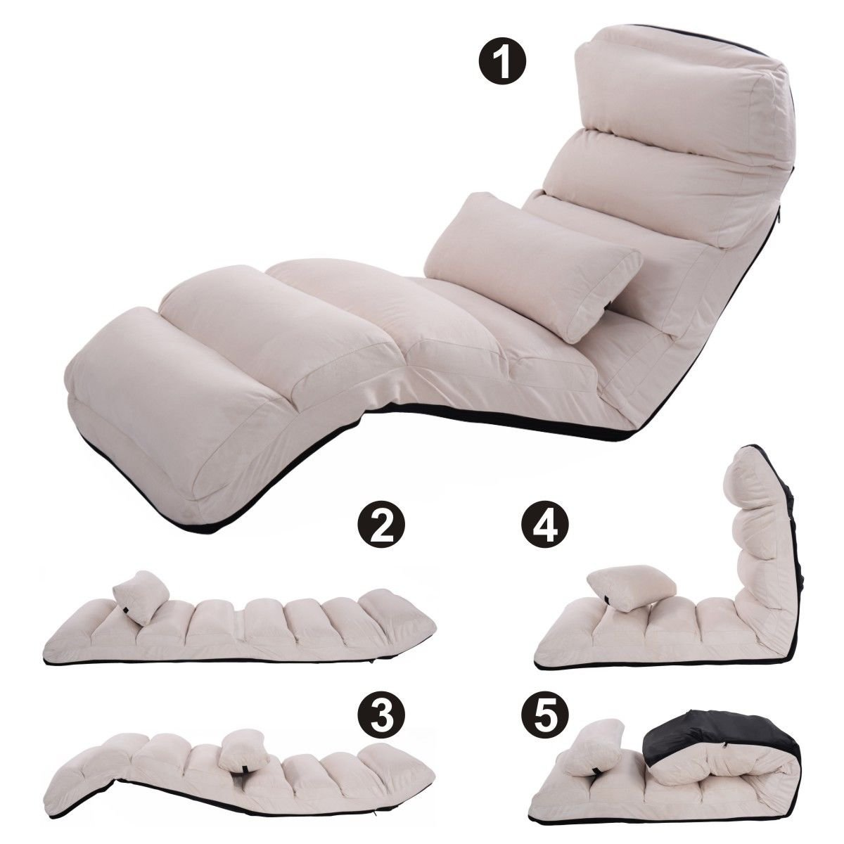 single chair sofa beds modern contemporary sectionals cheap find deals on get quotations beige new folding lazy stylish couch lounge w pillow