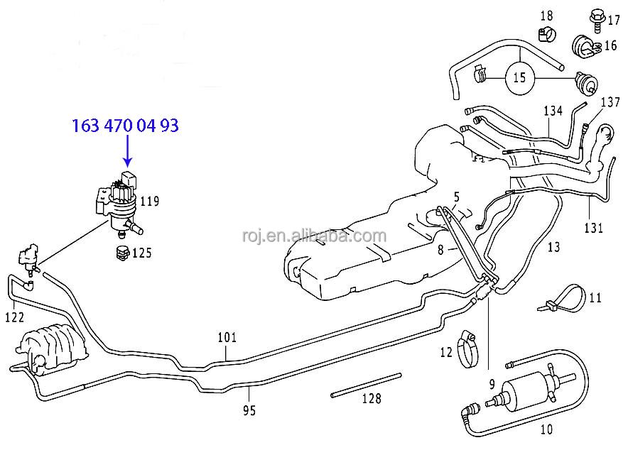 Auto Fuel Tank Evap Breather Valve For Mercedes Mb W163