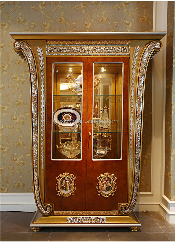 Luxury French Baroque Style Golden Four Door Glass Display