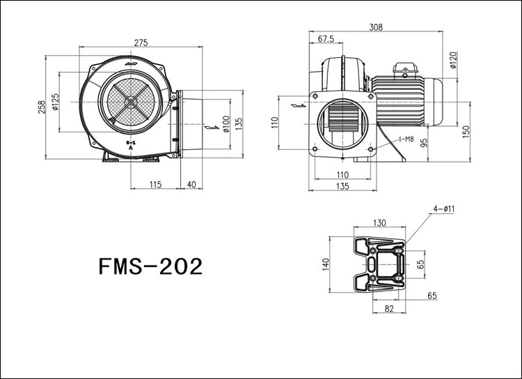 Fms-202a Jieming 200w Small Squirrel Cage Fans Medium