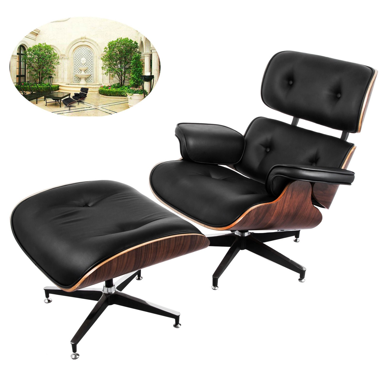 office lounge chair and ottoman vintage childs rocking buy vevor mid century modern classic design happybuy set 7 ply walnut laminated veneer style