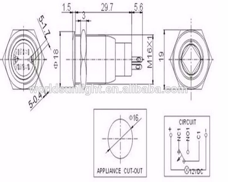 16mm High Flat Head Type 1no1nc Momentary Auto Metal Push