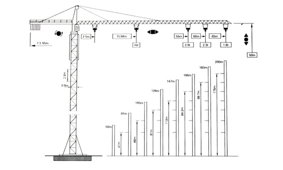 Qtz160-6516 Model Tower Crane Lifting Capacity 10ton Top