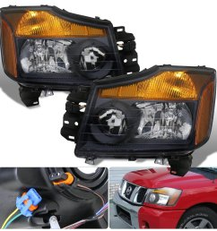 get quotations for nissan titan armada 1 piece black housing clear lens amber reflector corner jdm upgrade replacment [ 1296 x 1296 Pixel ]