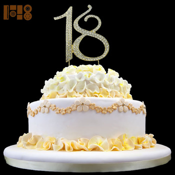 Shining Rhinestone Number 18 Birthday Cake Toppers For 18th Birthday