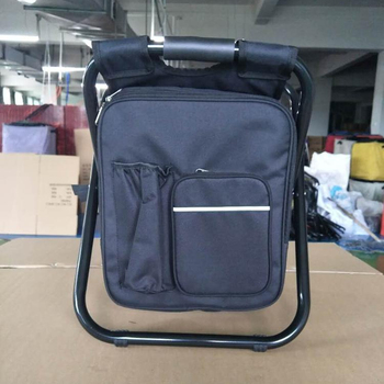 fishing cooler chair office upper back support custom double folding with bag backpack easy carry beach
