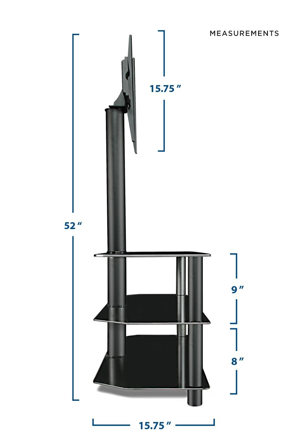 Tv Center Stand With Mount And Glass Shelves For Audio