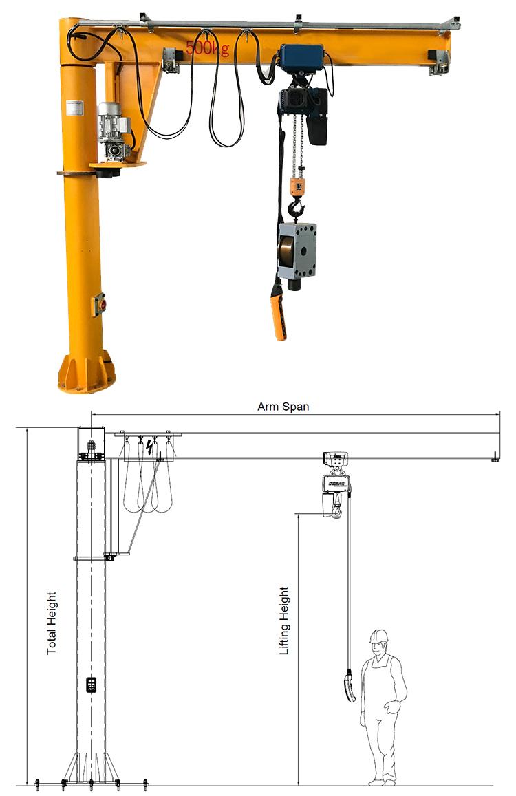 hight resolution of 250kg workshop use pliiar jib crane with mobile hoist