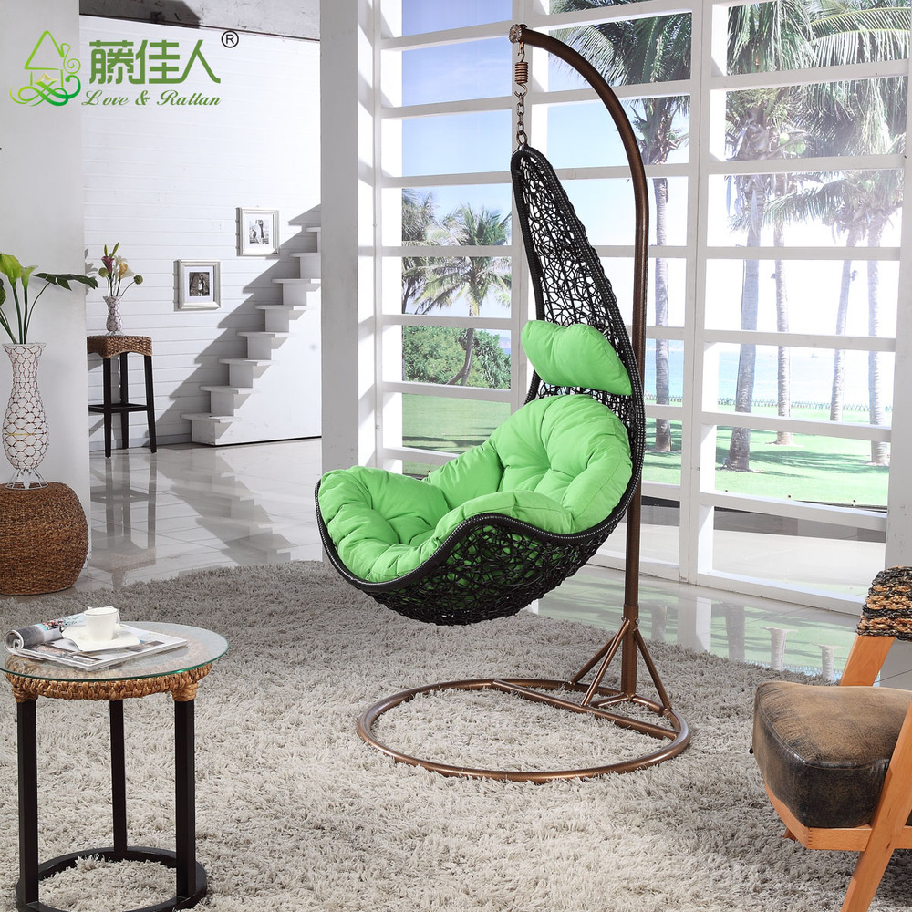 indoor hanging egg swing chair single couch cover cheap price outdoor patio rattan wicker with metal stand