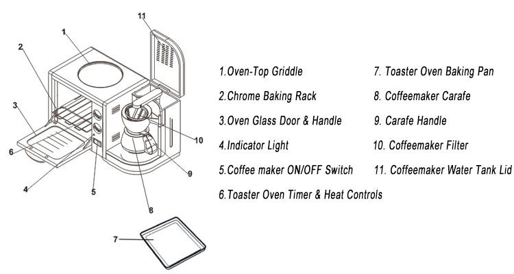 New products multifunction oven toaster of 3 in 1