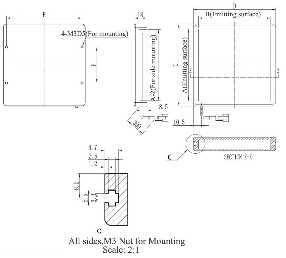medium resolution of lt2 bf4335 optional colors 43 x 35 mm 24v industrial usage mini flat led light